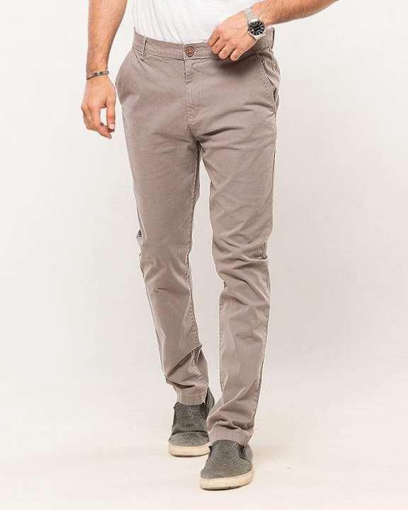 Grey-Cotton-Stretch Men's Chino-Slim Fit