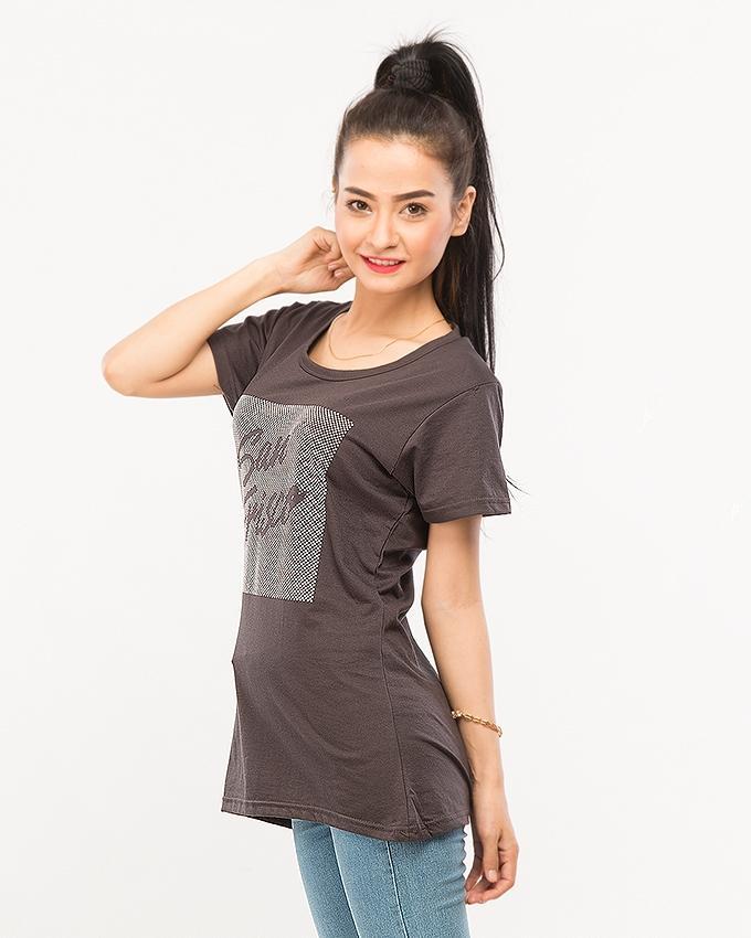 Black Pc Jersey Women's Half Sleeves T-Shirt