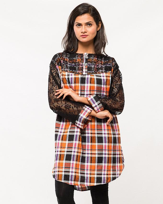 Orange Checkerd Cotton Top with Net Sleeves for Women