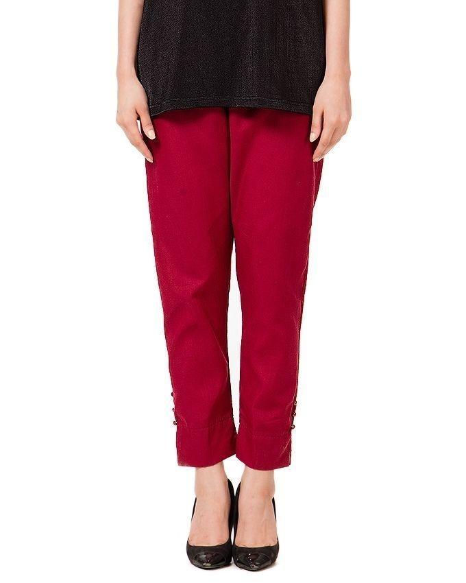 Maroon Cotton Cigarette Pants For Women