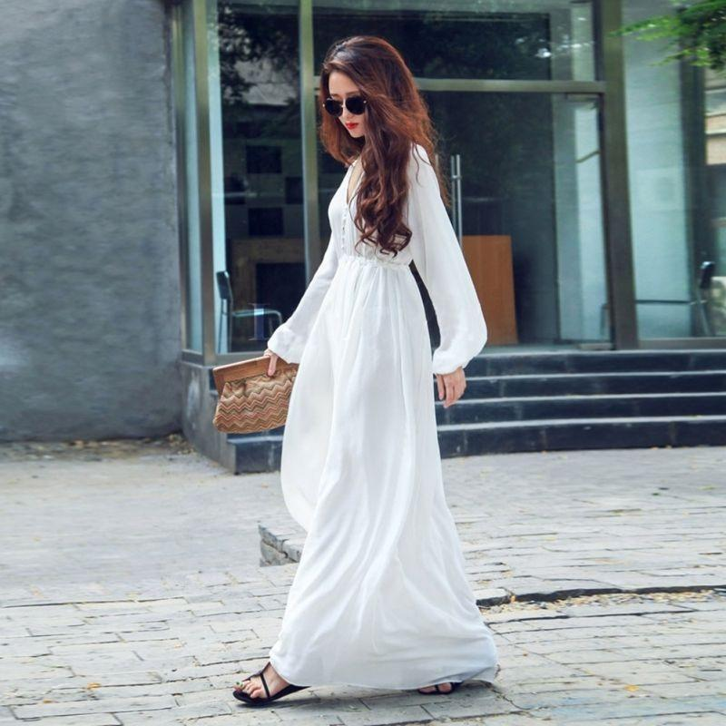 Long Dress for Women - White