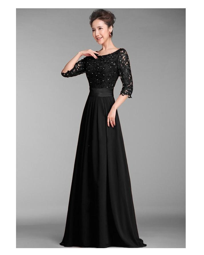 Stylish Net Chiffon Maxi Dress For Women Black