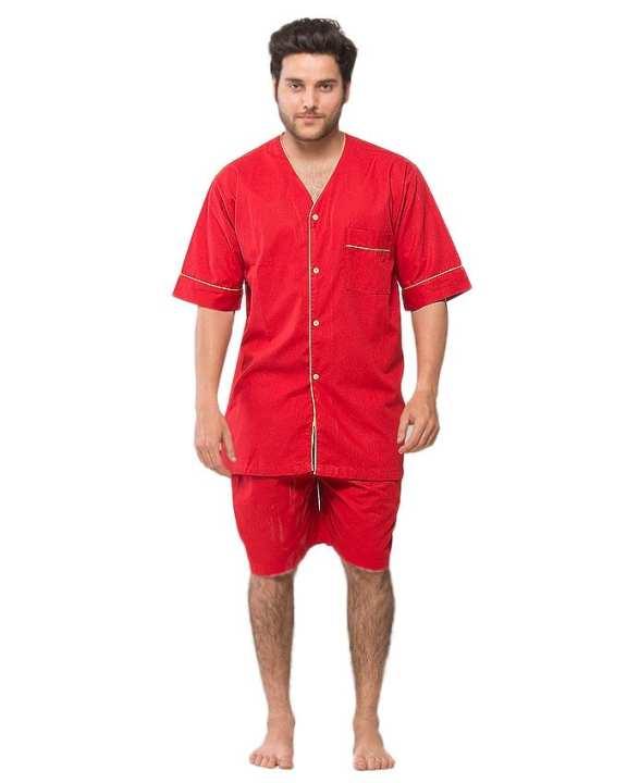 Red 85% Cotton 15% Polyester Nightwear for Men - PJ333 RD