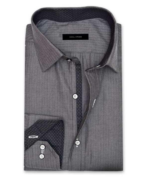 ACLIPSE - Grey Herringbone Cotton Shirt for Men - FS16036