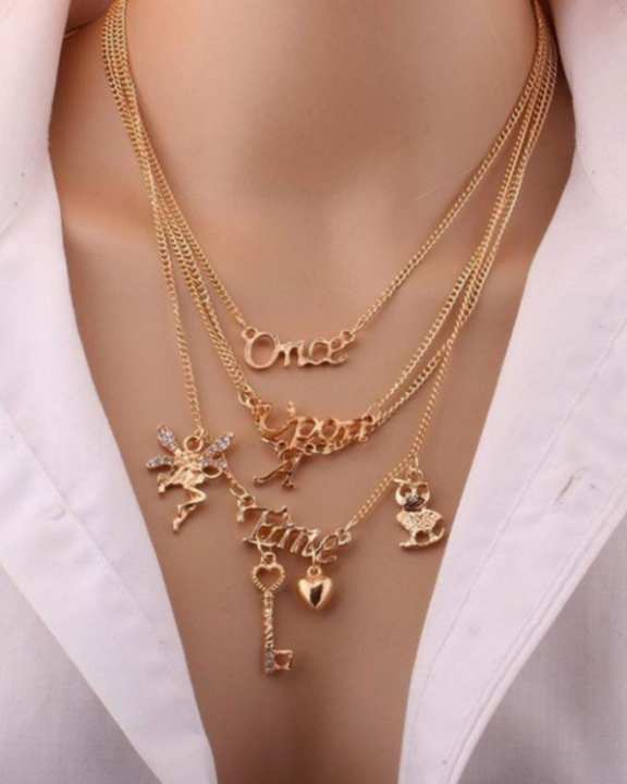 Once Upon A Time Statement Multi-Layered Necklace - Golden