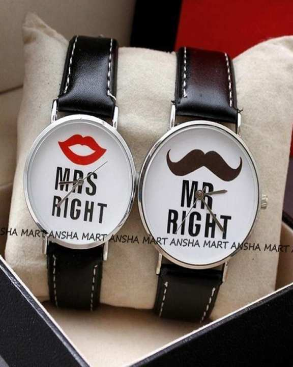 Pack of 2 Analog Wrist Watches For a Baeutiful Couple -Black