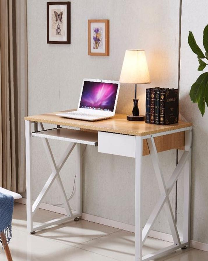 Odo Study Table - Wood Color & White Frame