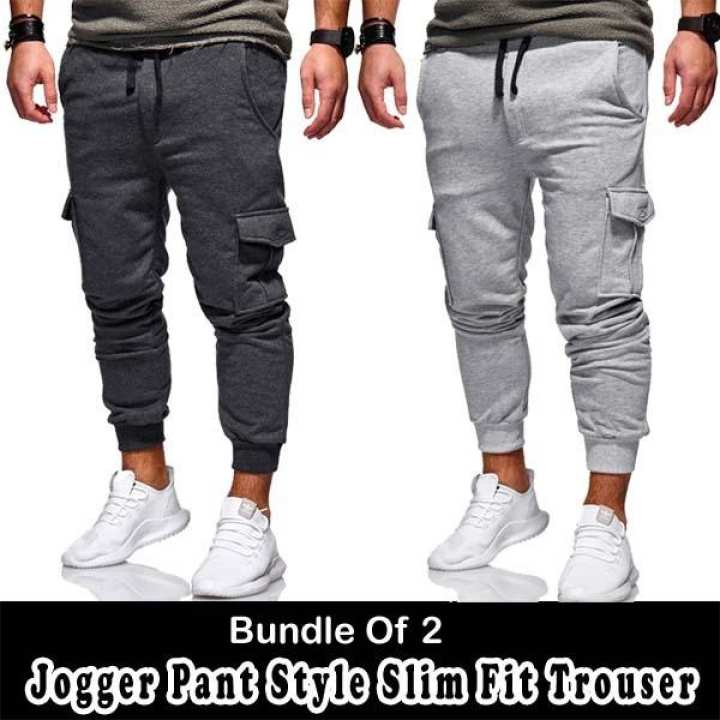 Bundle Of 2 Jogger Pant Style Slim Fit Trouzer For Him