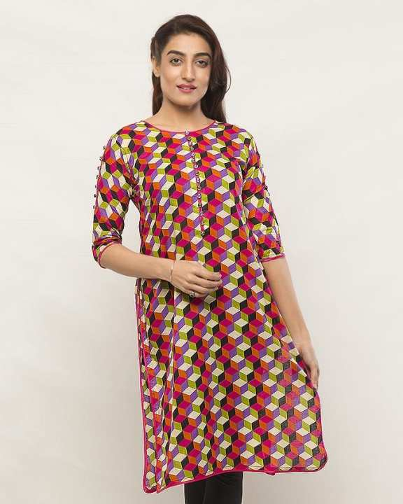 Multicolor Lawn Printed Shirt For Women