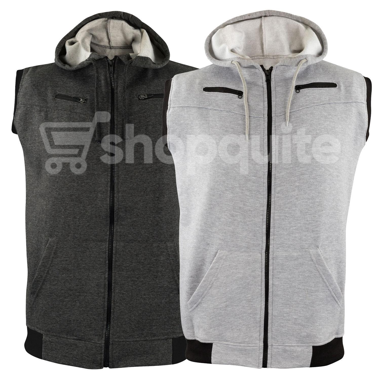 db7eb57cb6491f Pack Of 2 Jaqueta Front Zipper Sleeveless Hoodies
