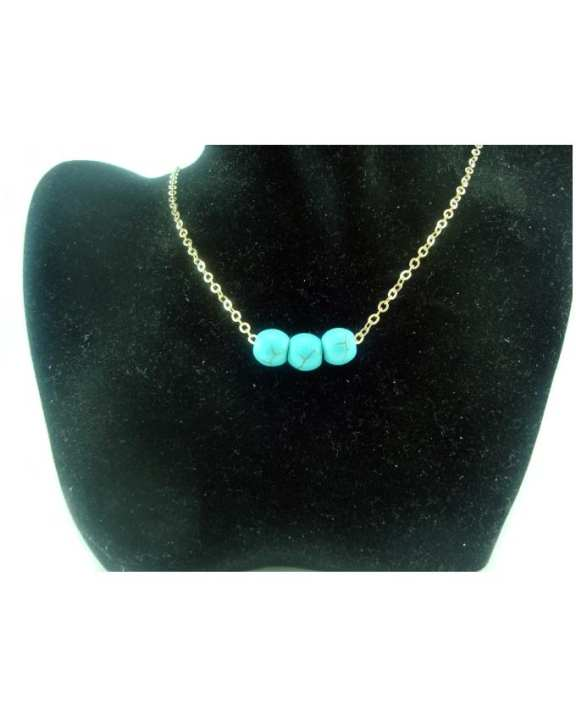 Natural Turquoise Bead Retro Necklace - For Women
