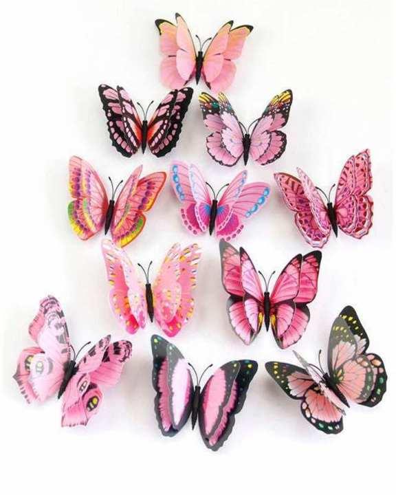 Pack Of 12 - 3D Magnet Butterflies Wall Sticker -Multicolor