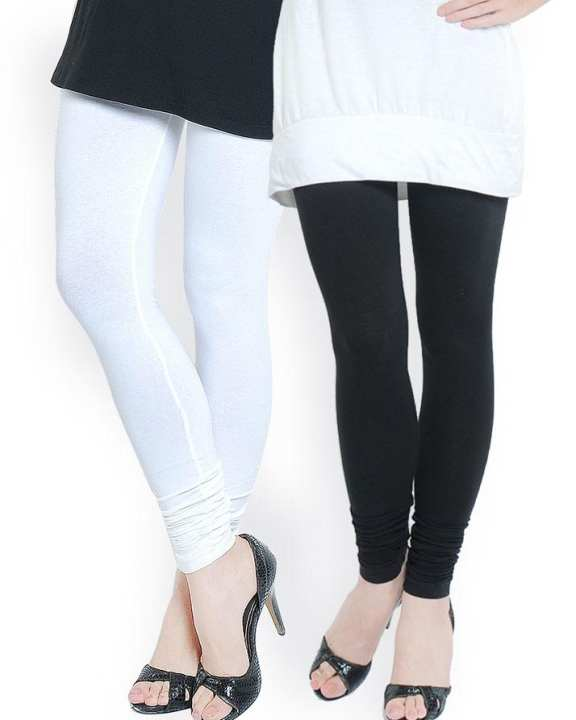Pack of 2 - Black and White Cotton Plain Tights For Women