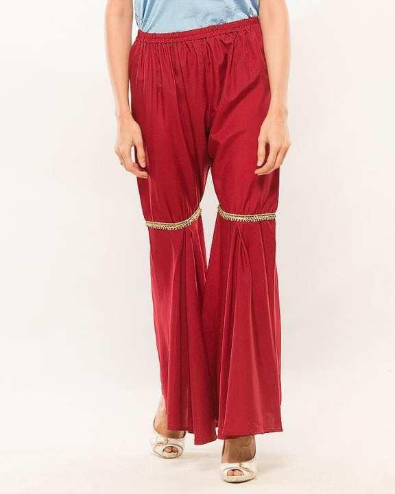 Maroon  Crepe silk  Gharara Pants for Women