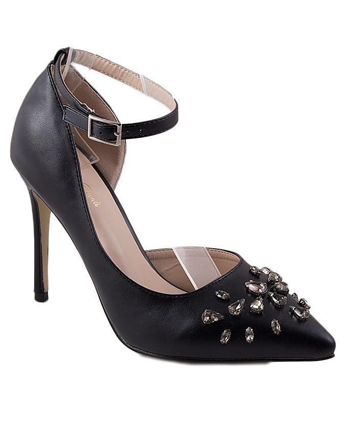 Black Synthetic Leather Ankle Strap Sandal for Women - 5020BK