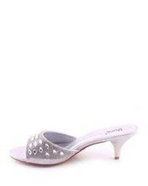"""Silver Synthetic Leather """"Niva"""" Crystal Detailing Sandals-UK Size"""