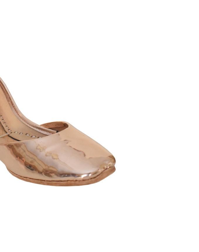 Peach Sheesha Leather Khussa for Women