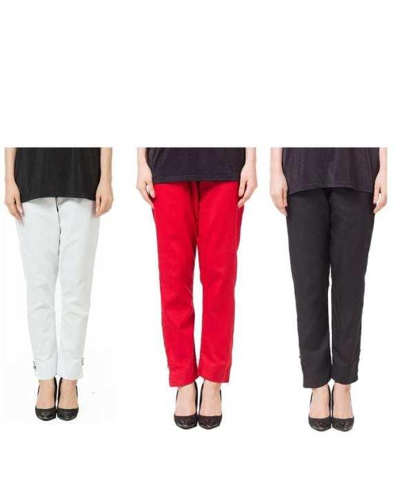 Pack of 3 Multicolour Cotton Cigarette Pants for Women