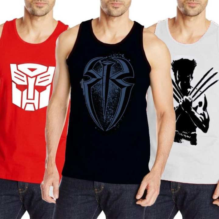 Pack of 3 Super Hero Gyming Tank Top for Boys Tp-Aj123 - S