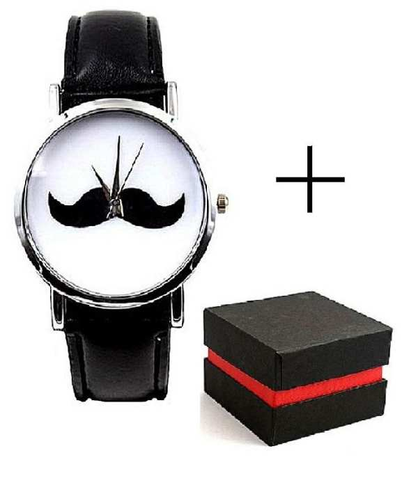 Mustache Leather Watch With Gift Box For Men - Black