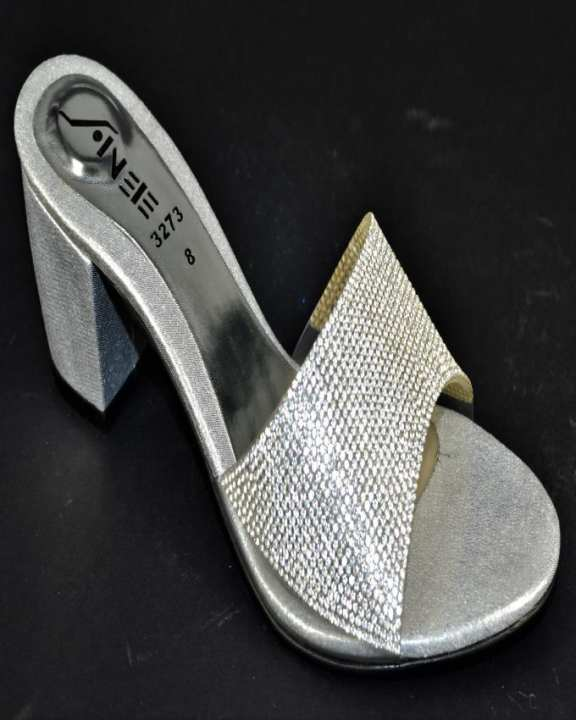 Silver Sheesha & Block Heel Heels For Women