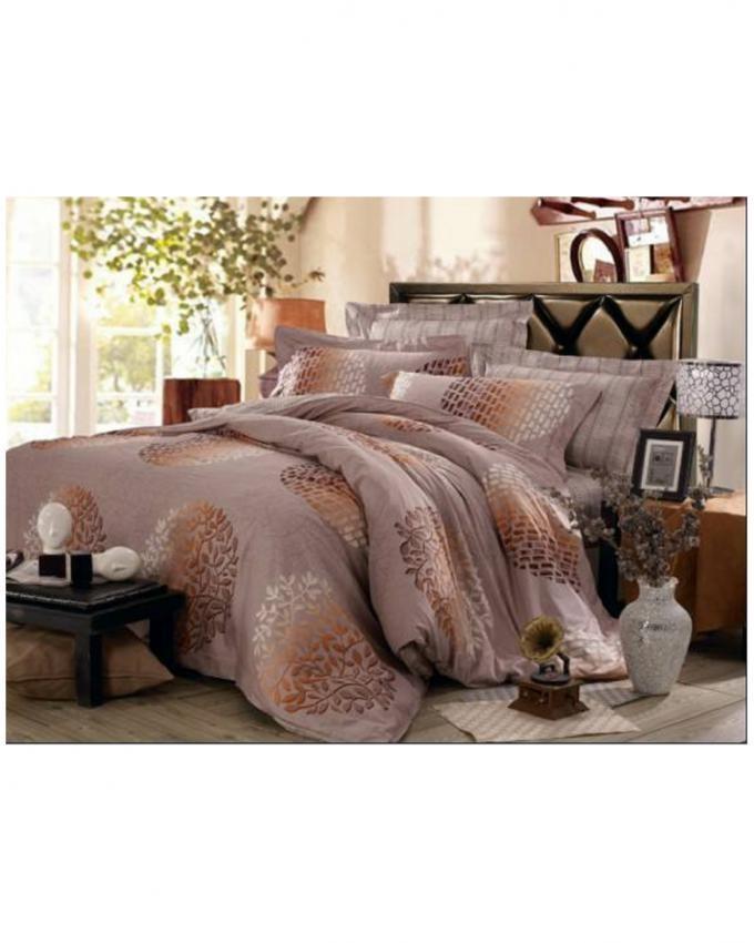 Grey Satin Printed Bedsheet & Comforter Set - 6 Pcs