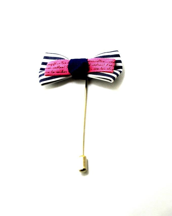 Blue & Pink Fabric & Steel Pin Lapel