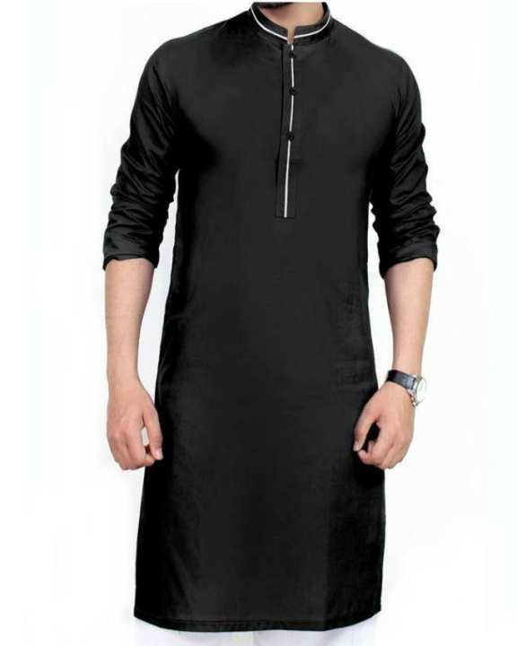 Black Mix Cotton Kurta For Men With White Shalwar
