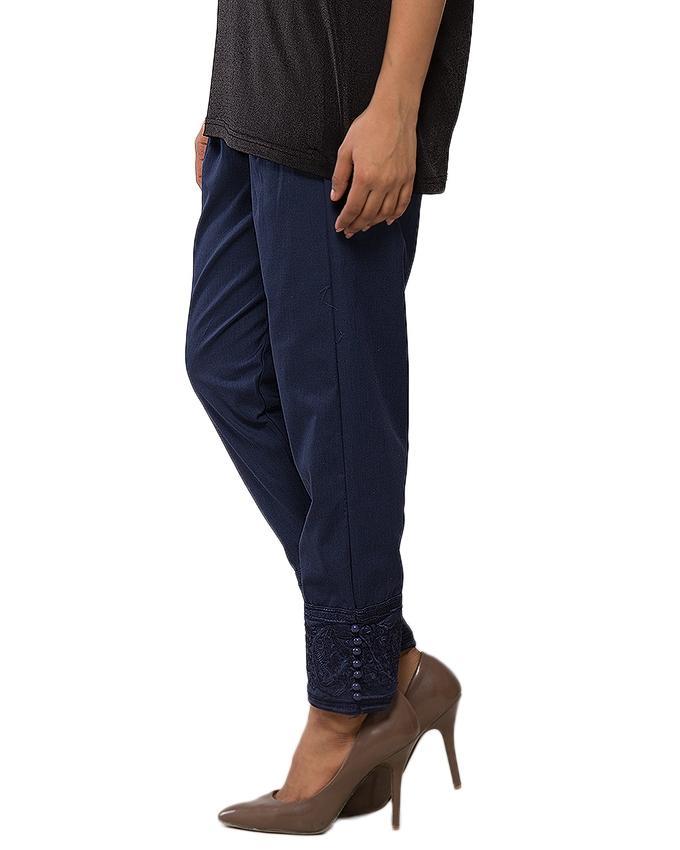 Navy Blue Cotton Cigarette Pant for Women