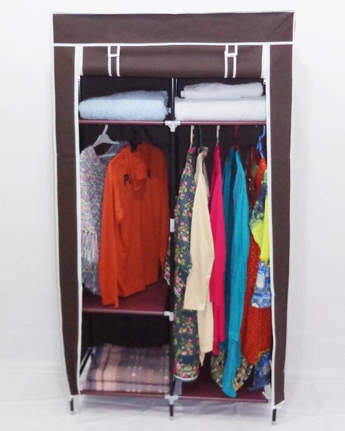 Storage Wardrobe Folding Cloth Organizer - Brown