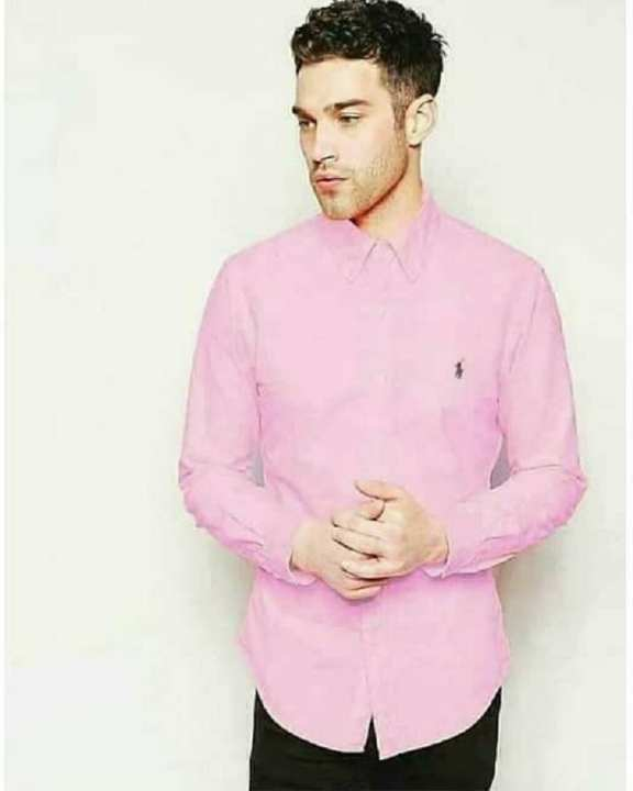 Pink Plain Chambray Casual / Formal Shirt For Men