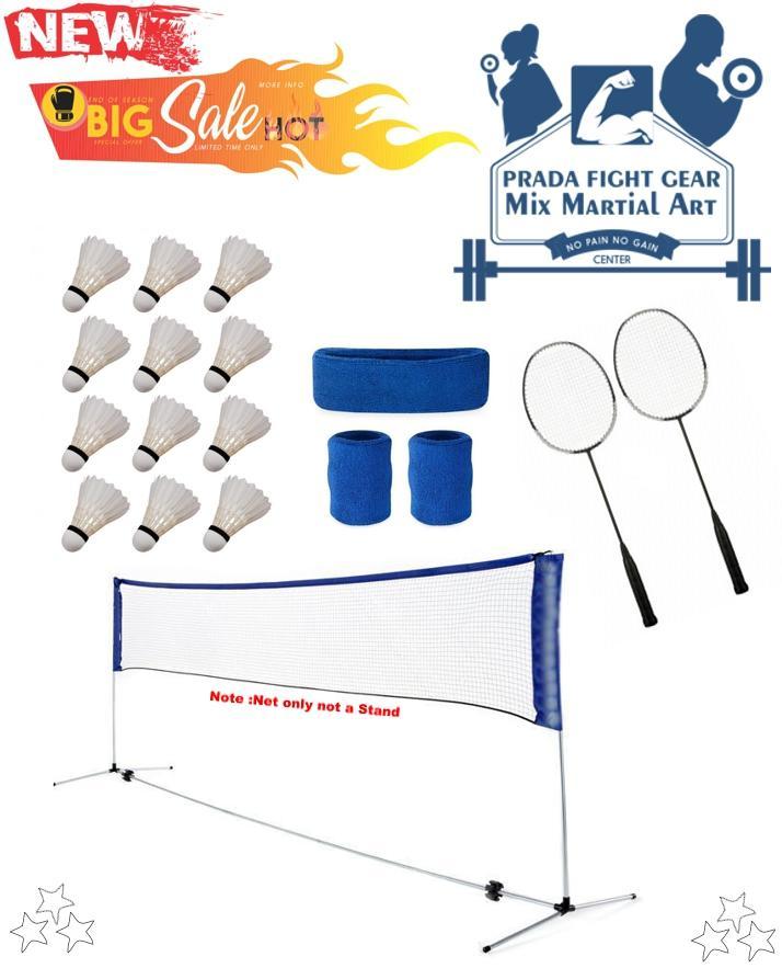 Pack of 18 Badminton Set net 12 Shuttle 2 Rackets 1 Wrist head Bands set