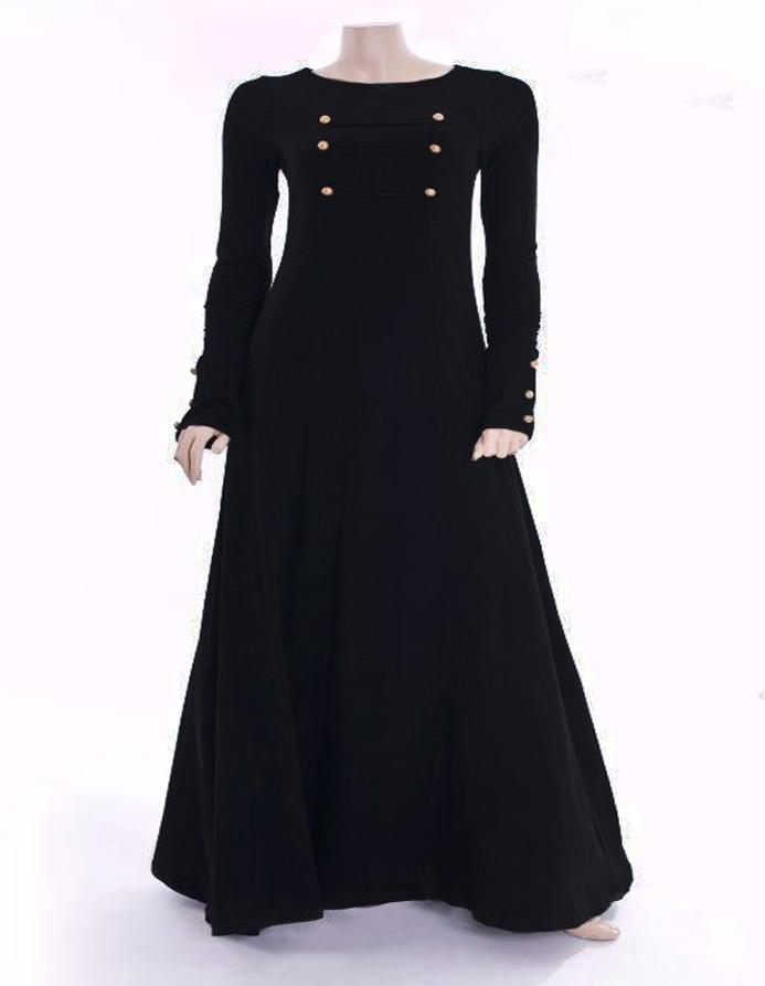 Black Golden Button Abaya Gown: Buy Sell Online @ Best Prices in ...