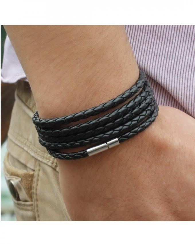 Jet Black Pu Leather Rolo Chain Bracelet Tm Mb 15