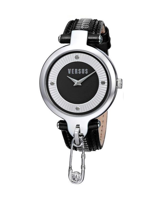 0014 Versace Versus By Black Leather Strap Zipper Key Watch With Sob02 Biscayne W9YEb2IeDH