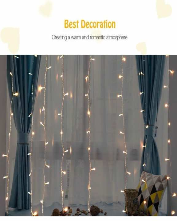 100 Leds Window Curtain String Light For Wall Decorations -Warm White Light