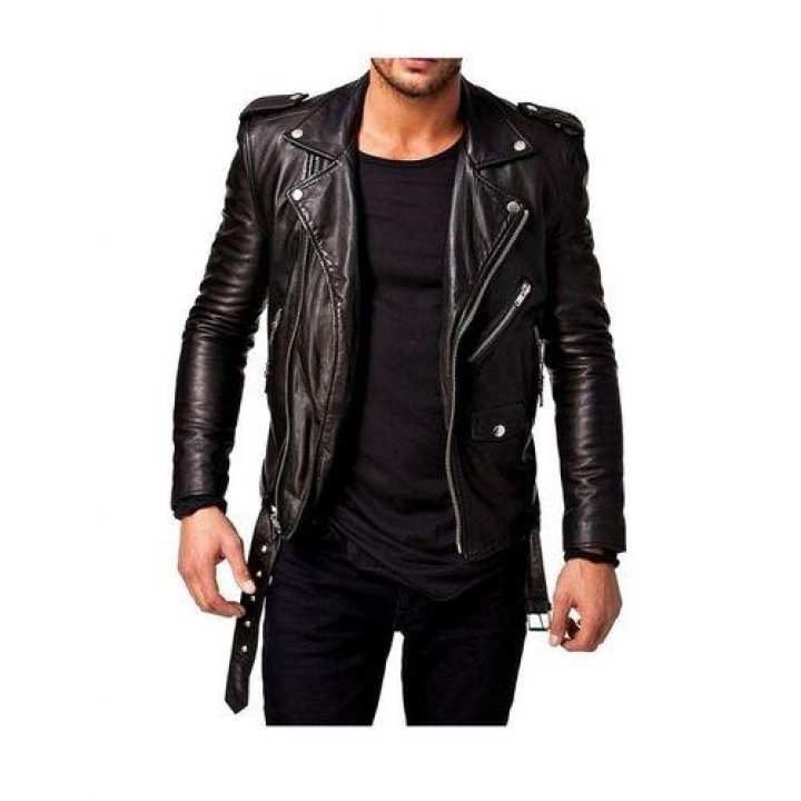 Men Slim Fit Pu Leather Jacket - Black