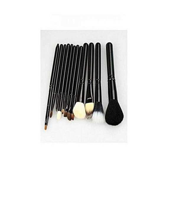 Pack Of 12 - Cosmetic Brushes - BlackProfessional Makeup Brush Set With Bag - 12Pcs