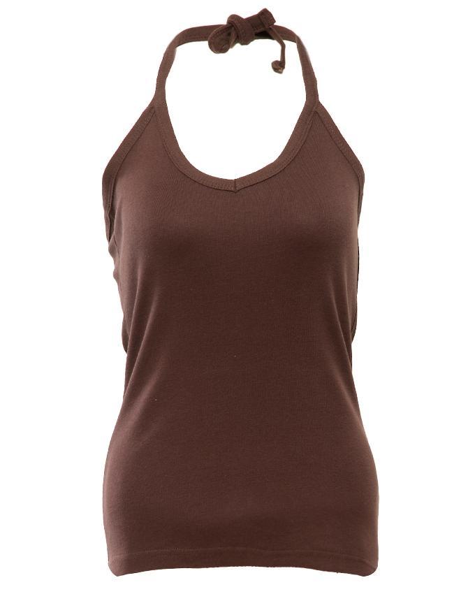 Brown Cotton Tanktop For Women