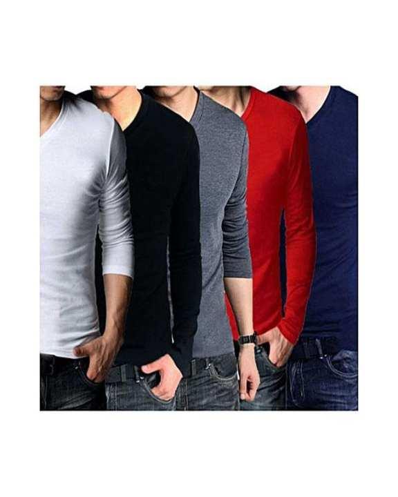Pack Of 5 Multicolor V-Neck Full Sleeves T-Shirts For Men - A&F-Vft-05