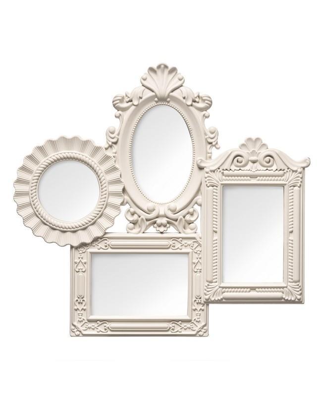 Multi Photo Frame, 4 Photo/Cream Plastic Frame, 2 Rectangular / 1 ...