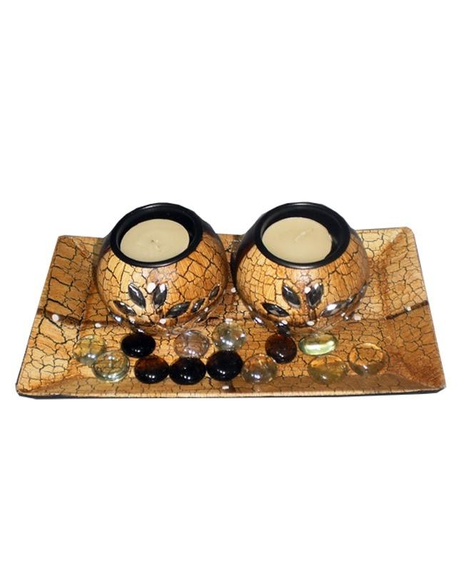 Candle Holder with base tray and free beads