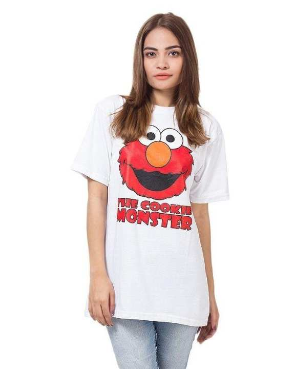 White Cotton Half Sleeves Round Neck Cookie Monster Printed T-Shirt For Women