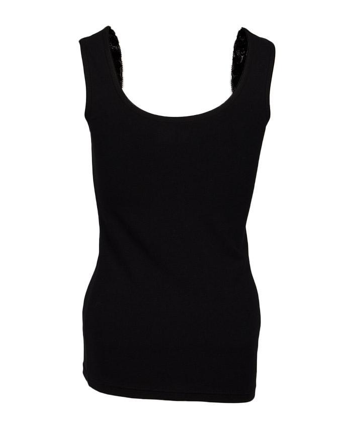 Camisole Collection Black Cotton Lace Floret Camisole for Women