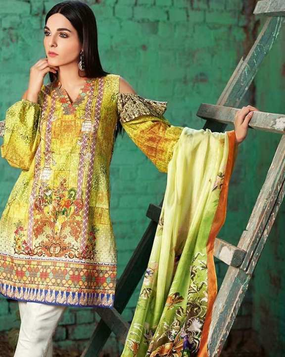 Gul Ahmed - Yellow Silk with Digital Printed Shirt 3PC-Unstitched -  SS-176-158487