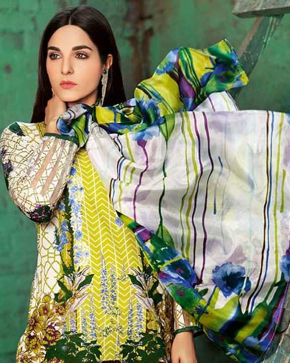 Gul Ahmed - Yellow Silk with Printed Shirt Embroidered Laces 3PC-Unstitched -  SS-171-158482