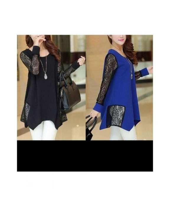 Pack Of 2 - Net Stylish Tops For Women - Black & Blue