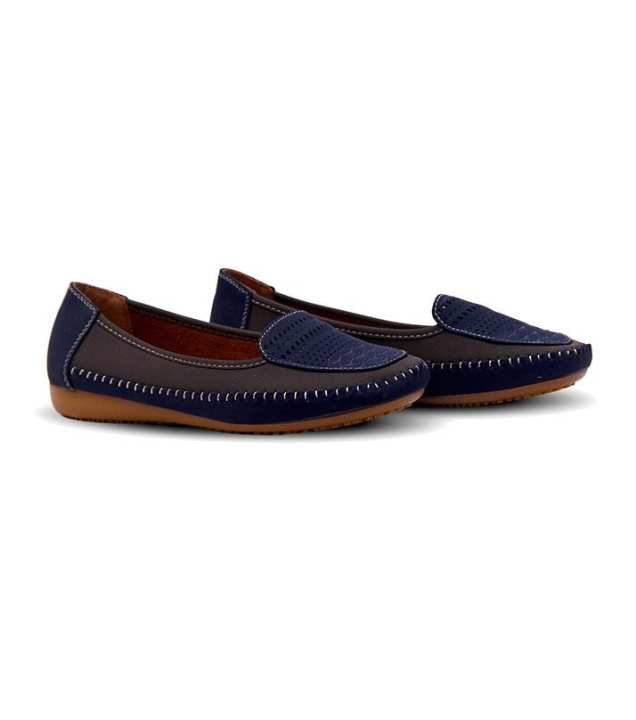 Blue Leather with Embroidery Ladies Shoes - 012