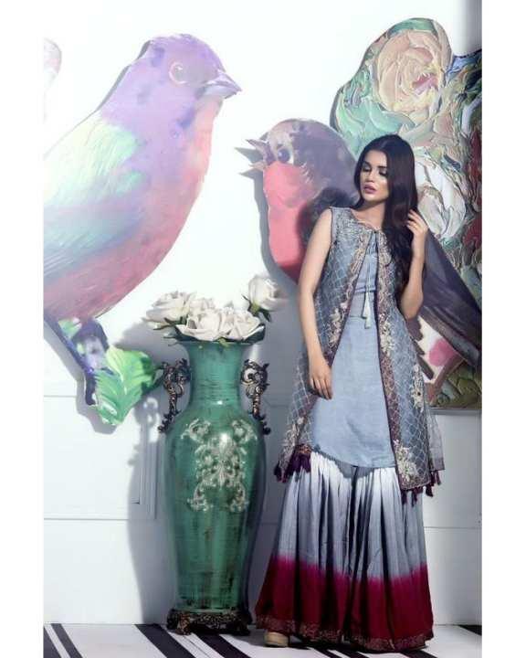 Grey Organza & Silk Wedding Wear For Women