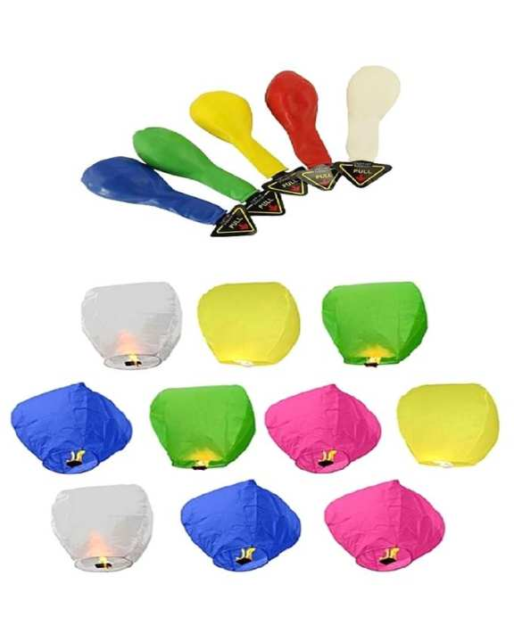 Pack of 15 - Sky Lanterns & LED Balloons - Multicolor